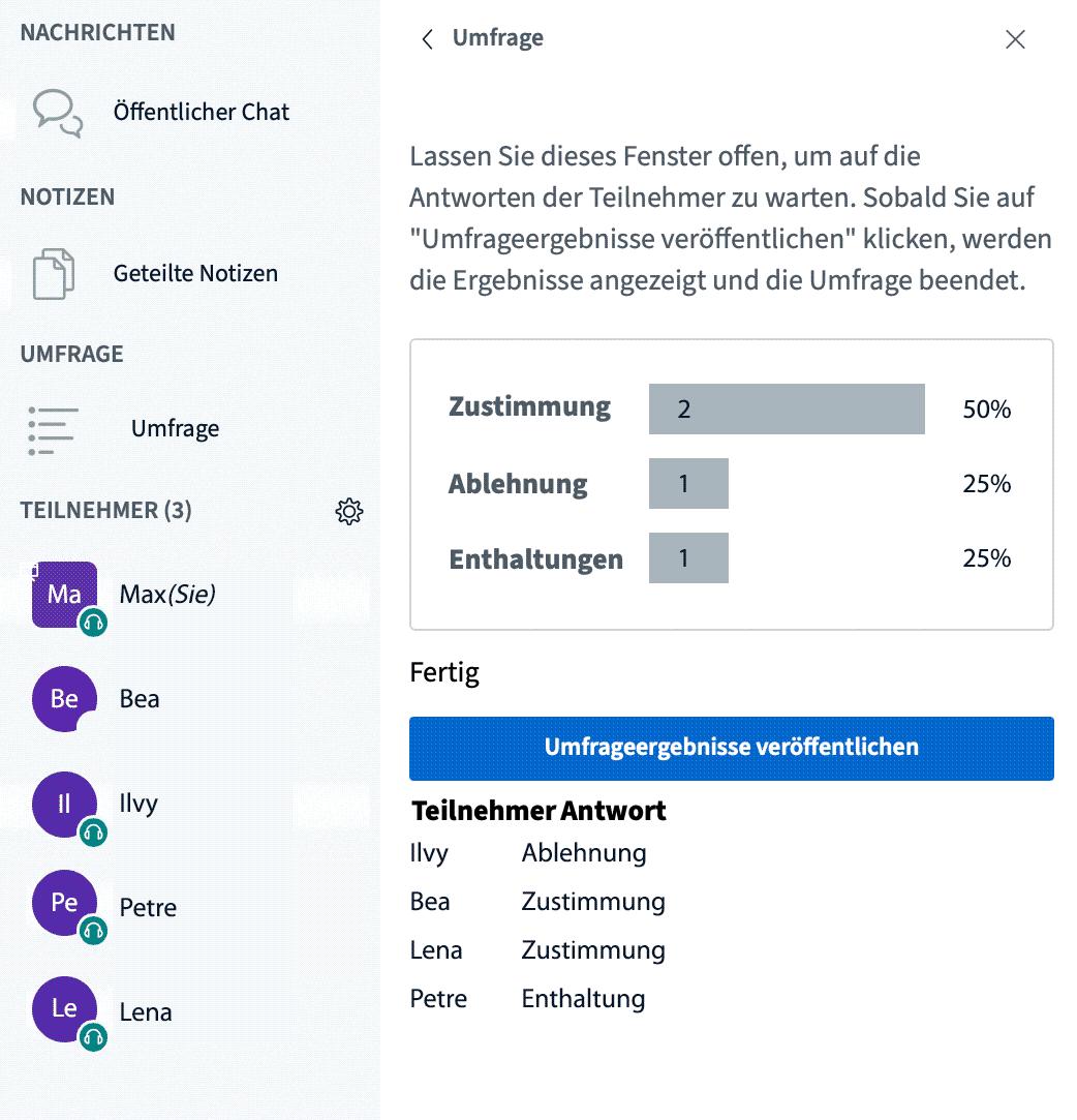 Funktion: Gruppenumfragen Screenshot