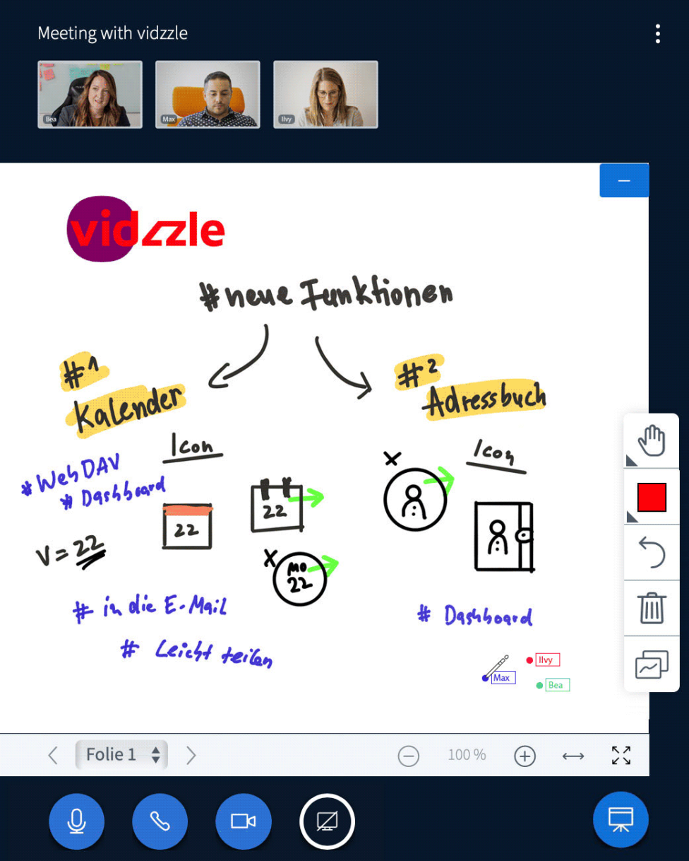 Funktion Whiteboard Screenshot