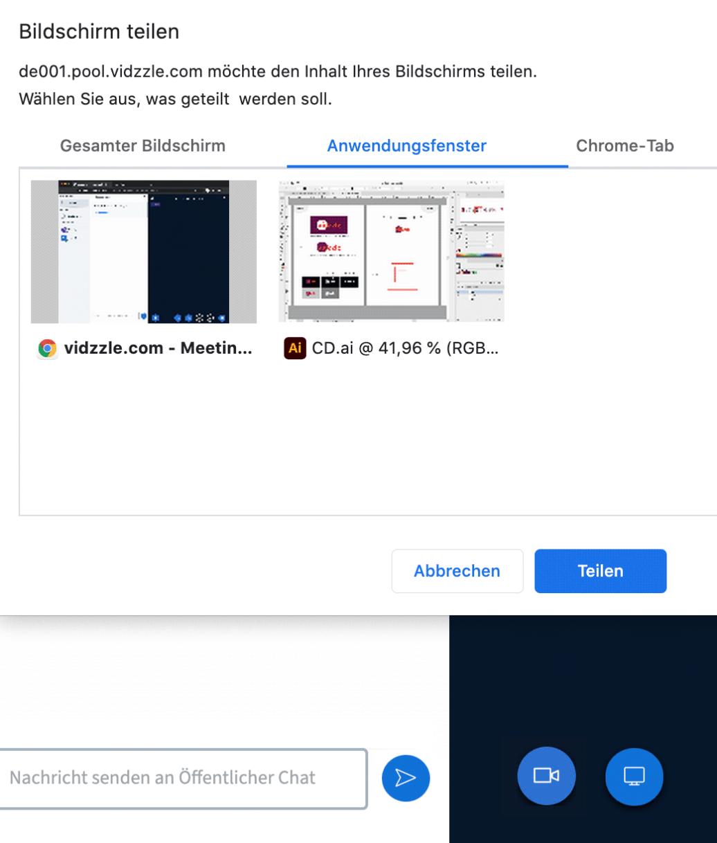 Funktion Screensharing Screenshot